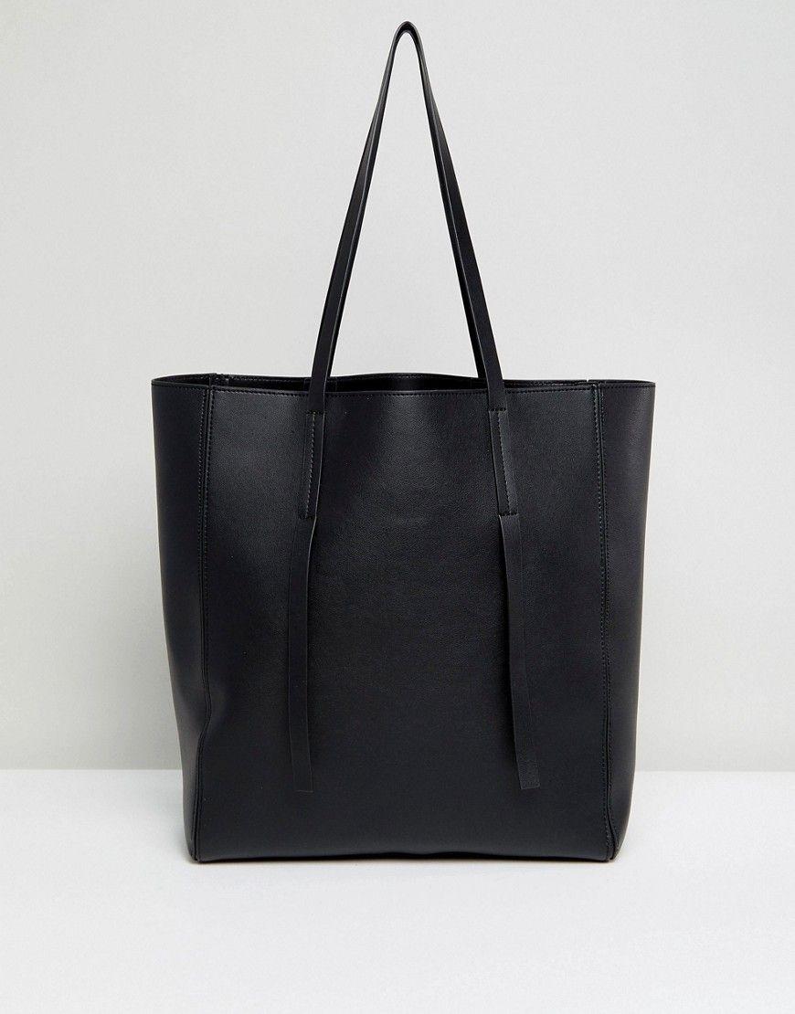 4e6d2b1b9448 ASOS Unlined Tab Detail Shopper Bag - Black | Products | Pinterest ...