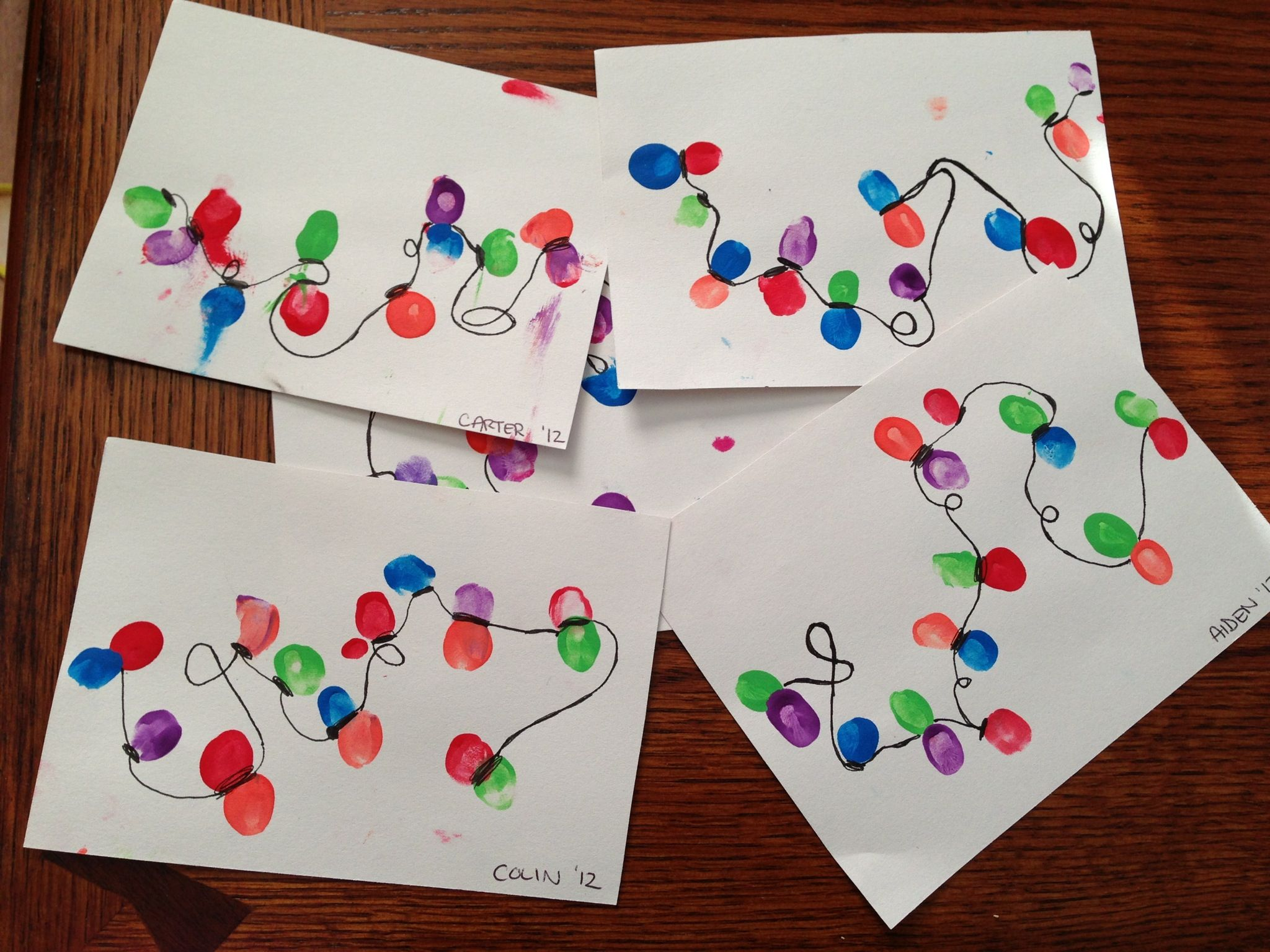 Thumbprint Christmas Lights Craft Kerst Knutselen Kerst Kerstmis
