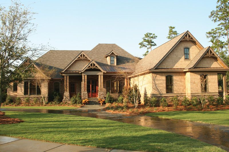 Dickerson creek rustic home luxury house plans house for Rustic craftsman house plans