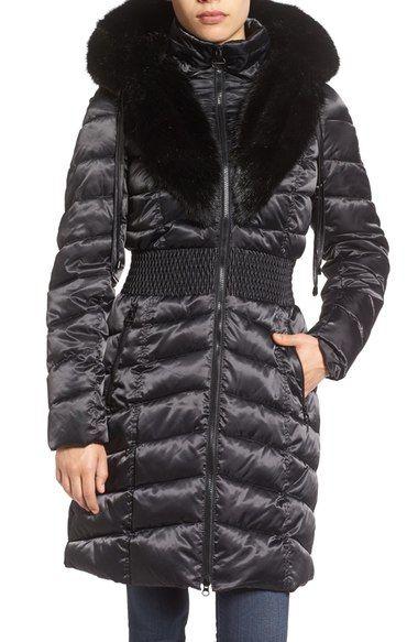 Laundry By Shelli Segal Faux Fur Trim Hooded Puffer Coat Puffer