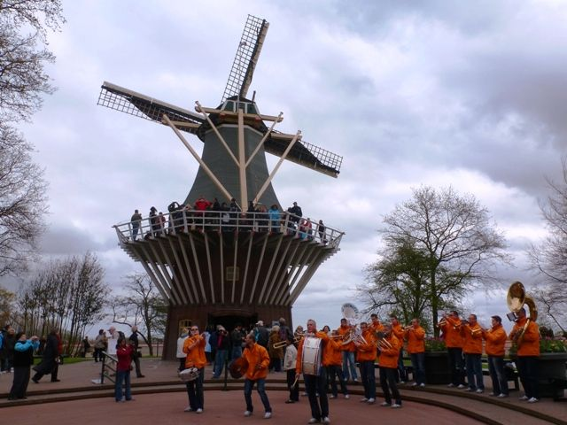 Top Quirky Travel Experiences- Keukenhof Gardens windmill & brass band, Holland