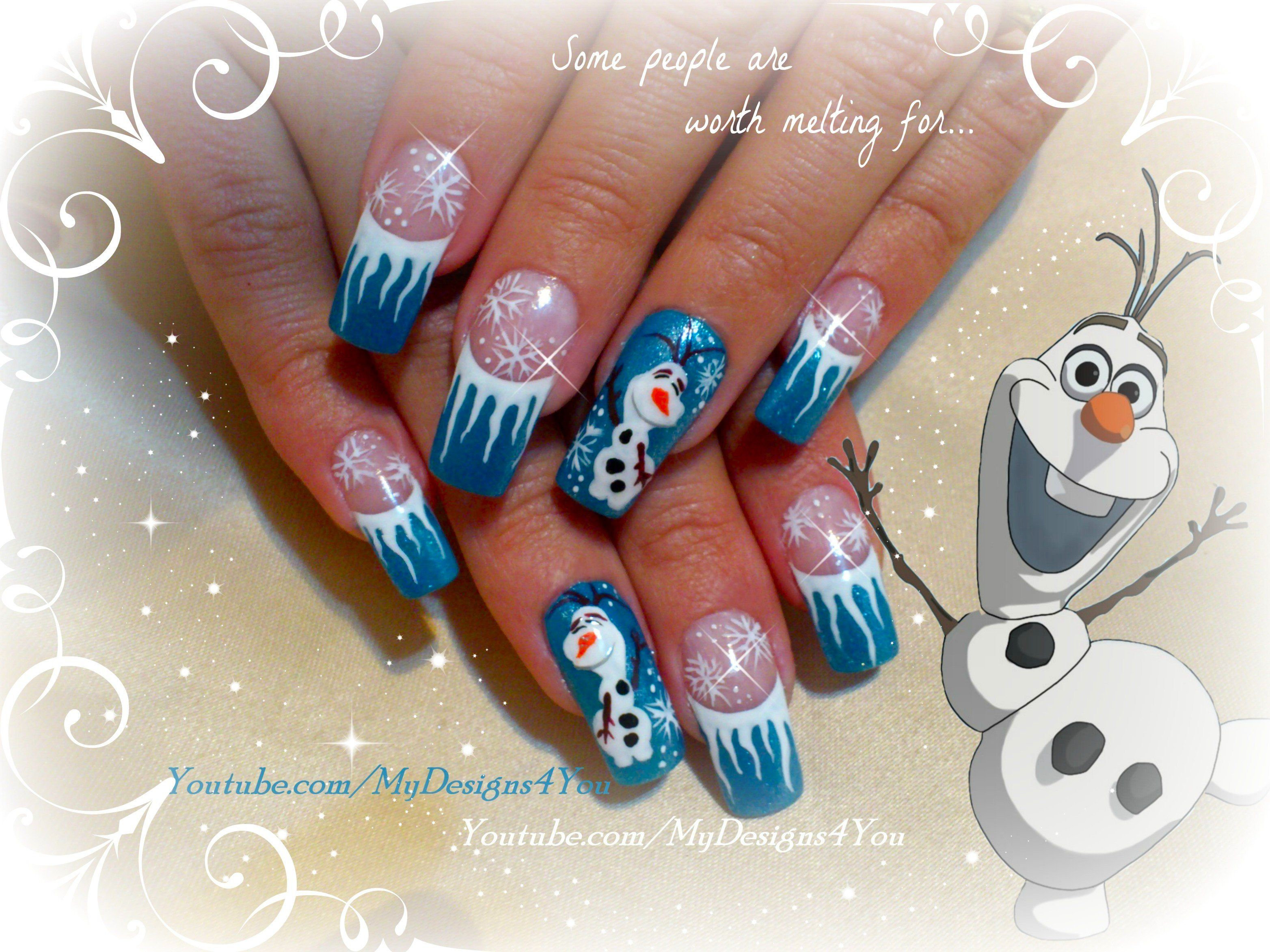 Disney FROZEN Inspired, OLAF the Snowman, Winter Nails by #mydesigns4you http://www.youtube.com/watch?v=El1BquqvgHY #nailart #nails #winternails #snowman #frozen #olaf #naildesign