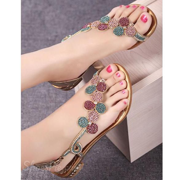 Amazing Shining Flat Sandals with Rhinestone Flower