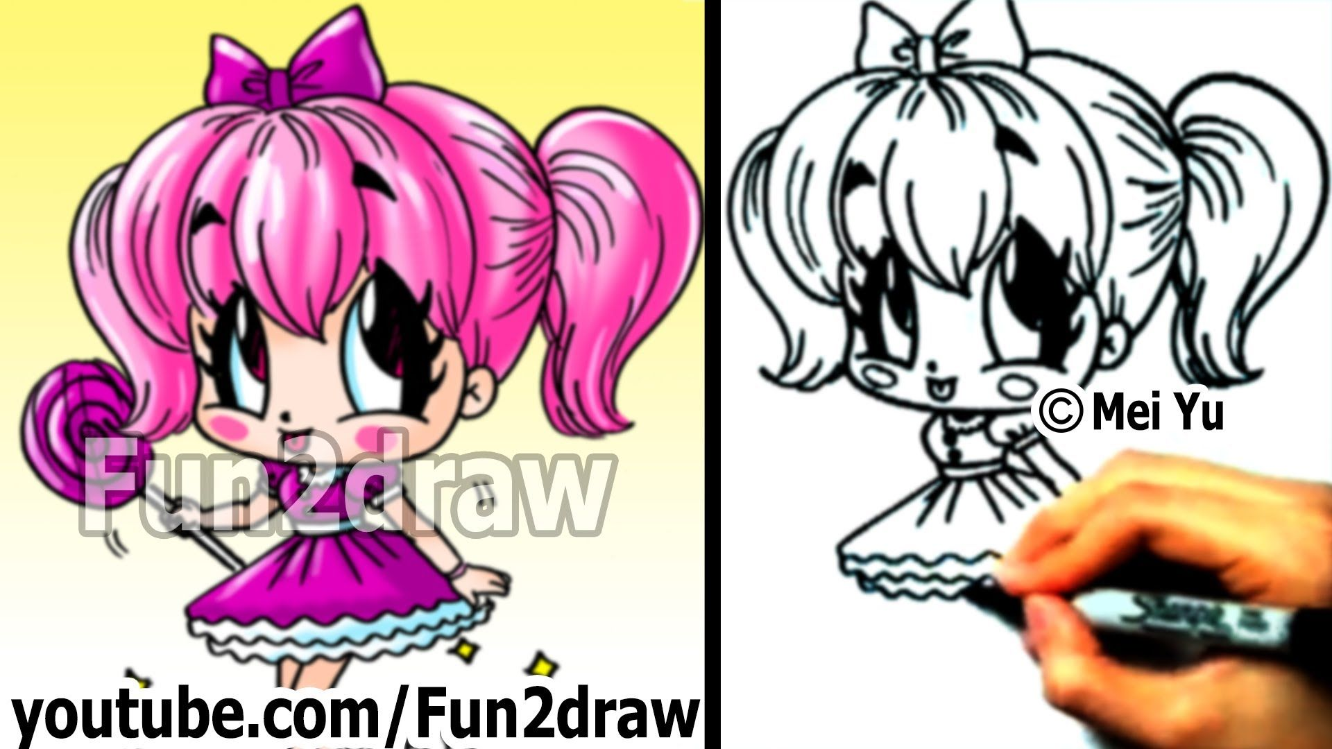 How To Draw A Chibi Candy Girl Fun2draw Drawing Lessons Girl Drawing