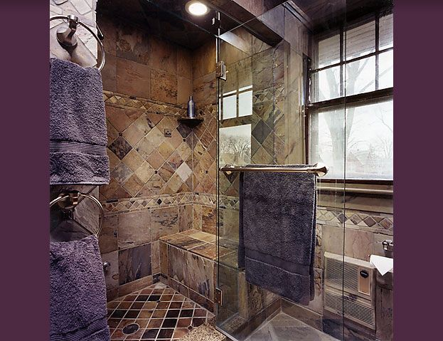 Steam WalkIn Shower Designs Intricate slate tile work and a