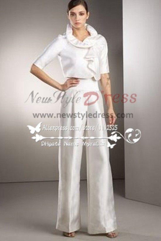 White Taffeta bridal pantsuit dresses for spring wedding wps-042 ...