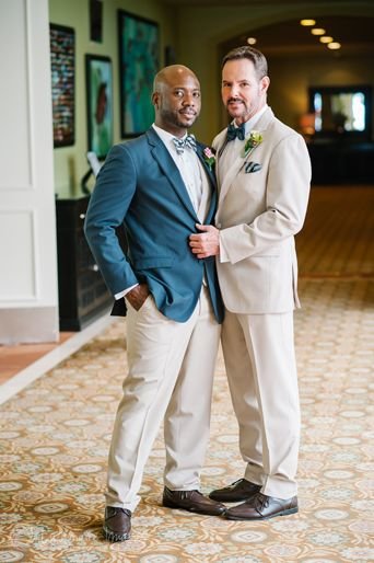 Same Wedding Event Two Grooms Groom Wearing Tan Suit And Blue