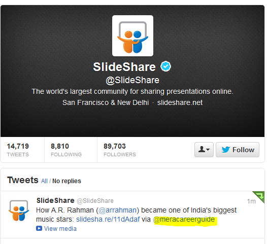 SlideShare tweeted the PPT on A R Rahman by MeraCareerGuide