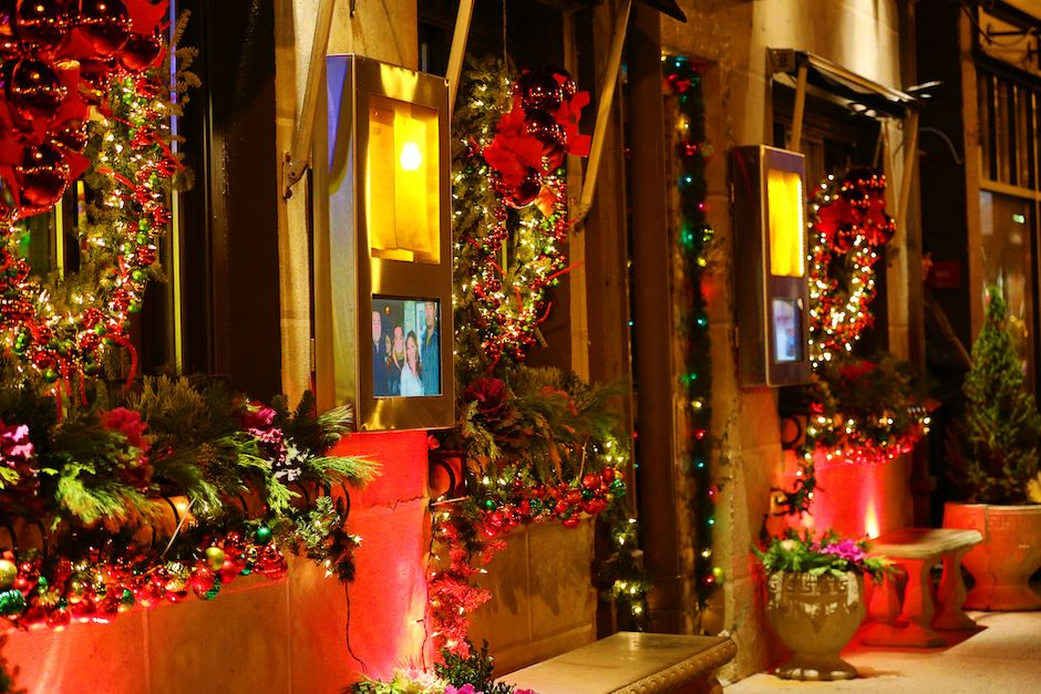 christmas decorations at strega italian restaurant bostons north end waterfront community
