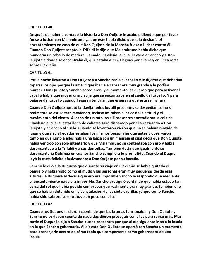 CAPITULO 40Después de haberle contado la historia a Don Quijote le - project report format