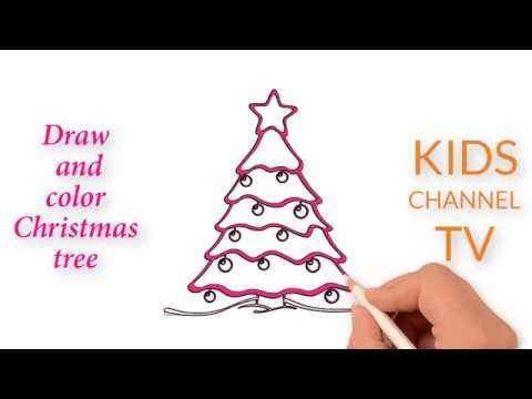 Kids Learn Drawing How To Draw Christmas Tree Coloring Youtube Video Christmas Tree Drawing Kids Learning Colorful Christmas Tree