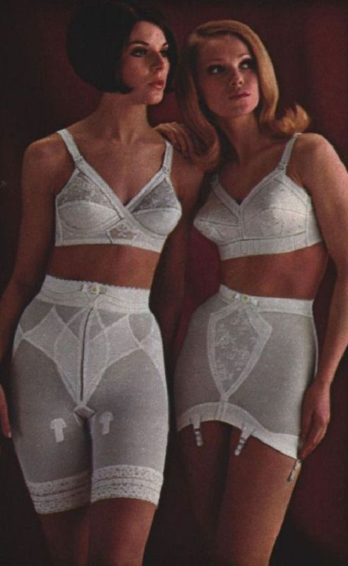 50c6b47dfee Long leg panty girdle and open bottom girdle. Add hose and heels. Imagine  an eight hour work day plus commute. 1950s