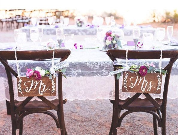 Mr and Mrs Chair Signs- Wedding Chair Sign- Mr and Mrs Sign ...