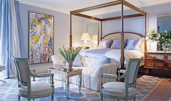 home-master-bedroom- abstract-painting-blue-room-french-chairs -decorating- ideas