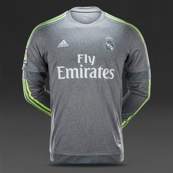 47f35e138 adidas Real Madrid 15 16 Away Shirt LS - Grey Solar Yellow