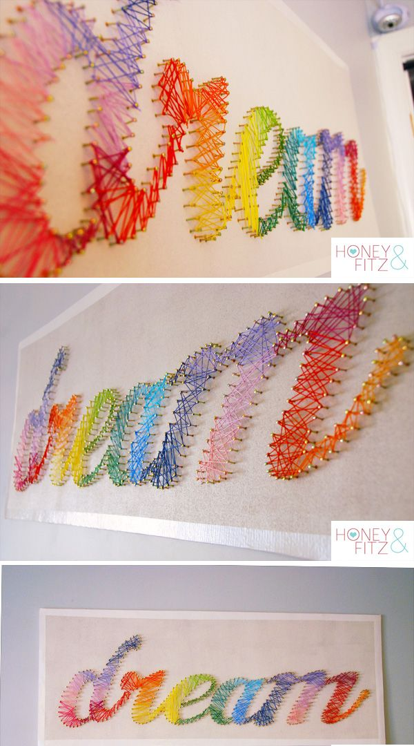 Rainbow String Art tutorial Honey and Fitz make a name