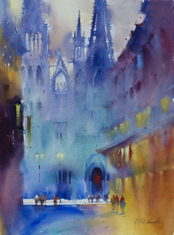 Victoria prischedko watercolor pinterest aquarell for Architektur aquarell