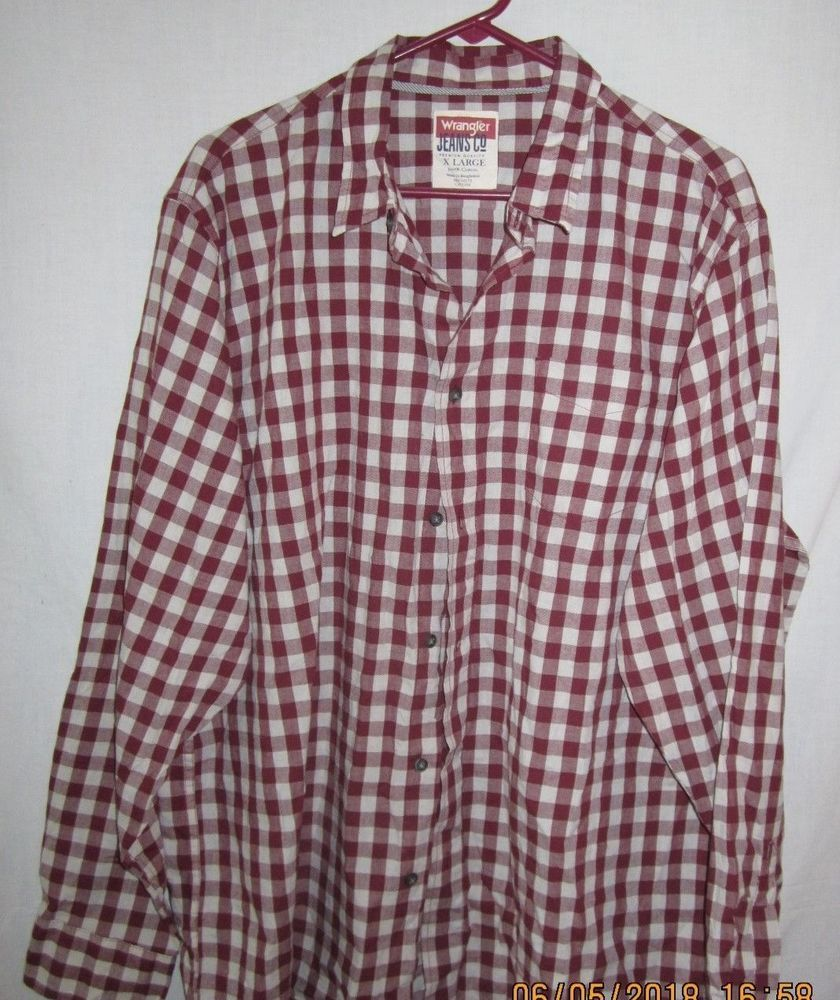 70059e78984 Wrangler Jeans Co Premium Quality 100% Cotton Size XL Red and White  fashion   clothing  shoes  accessories  mensclothing  shirts (ebay link)