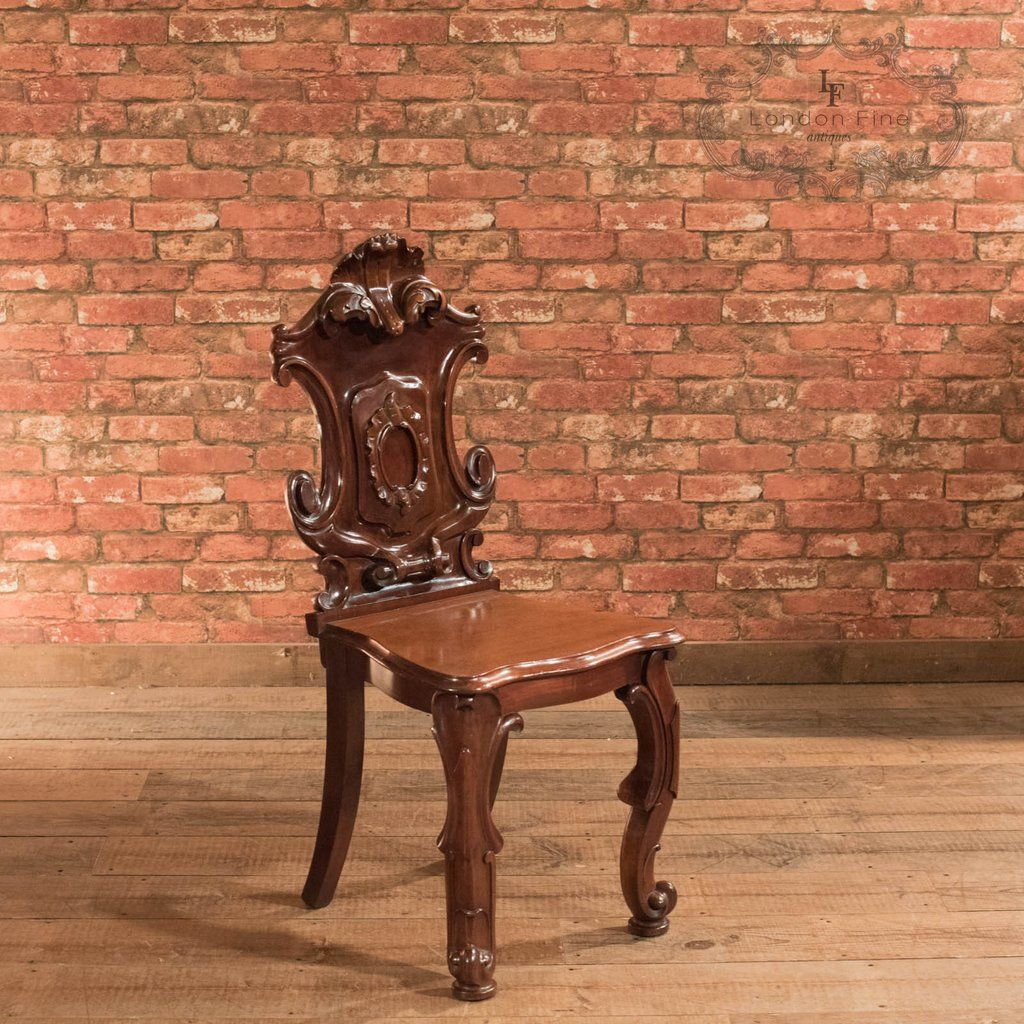 Our Stock # This is an antique, Scottish, solid shield back hall chair  dating to A dramatic piece highly polished and full of interest, this ch - Victorian Solid Shield Back Hall Chair, C.1880 Antique Chairs And