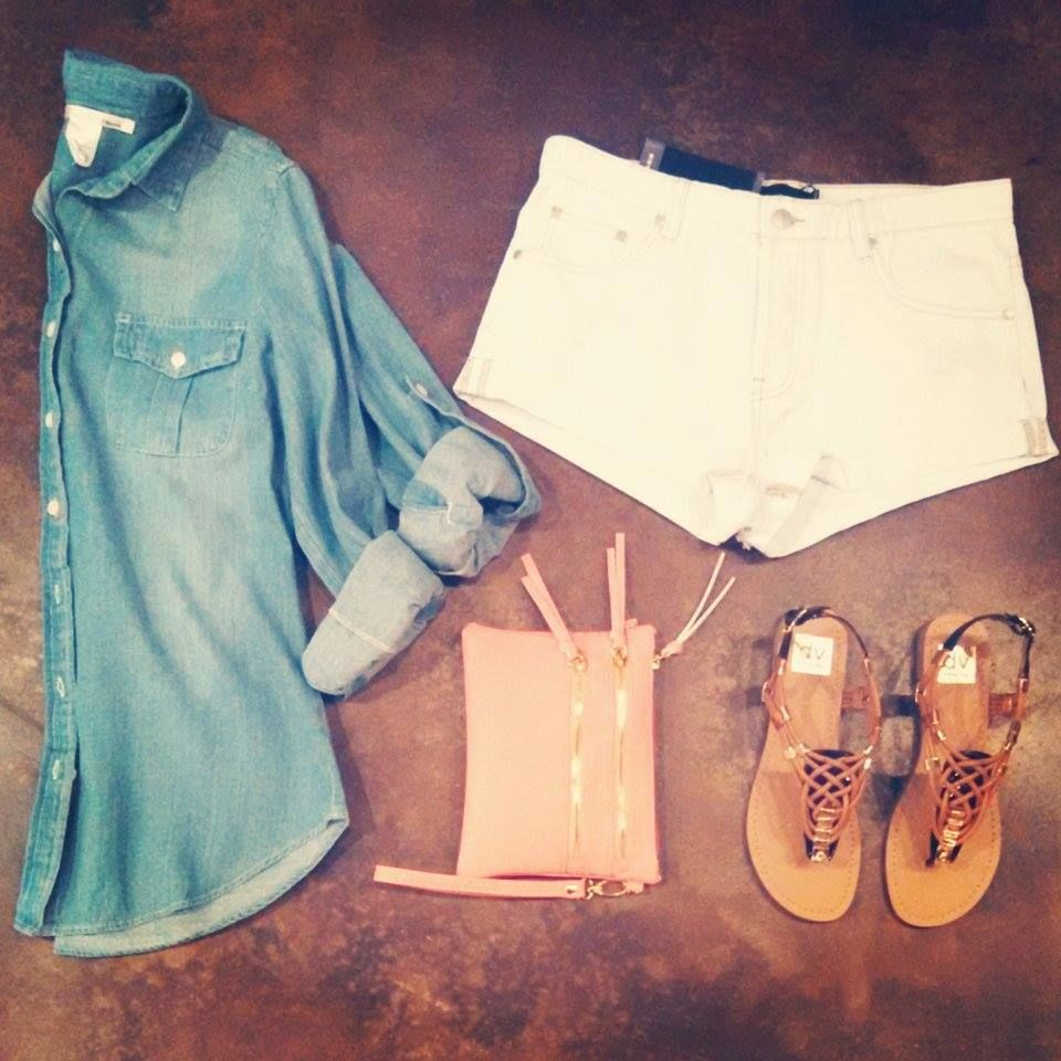 Chambray top, Mink Pink groupie shorts, double zipper clutch & Darin sandals! #lookoftheday #shophouseofsage www.houseofsage.com www.facebook.com/shophouseofsage
