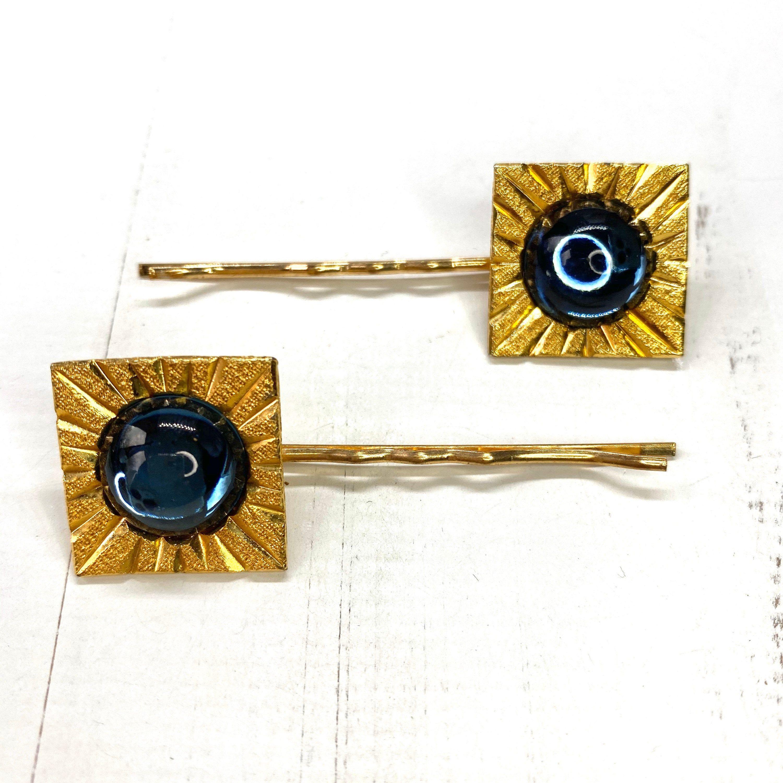 Art Deco Gold Hair Clips, Vintage Gold Hair Pins, Something Blue For Bride, 1920s Hair Clips Great Gatsby Hair Accessory, Art Deco Hair Pins