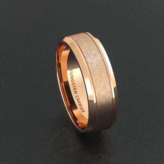Mens Wedding Band Rose Gold Brushed Double Groove Por Sydneykimi