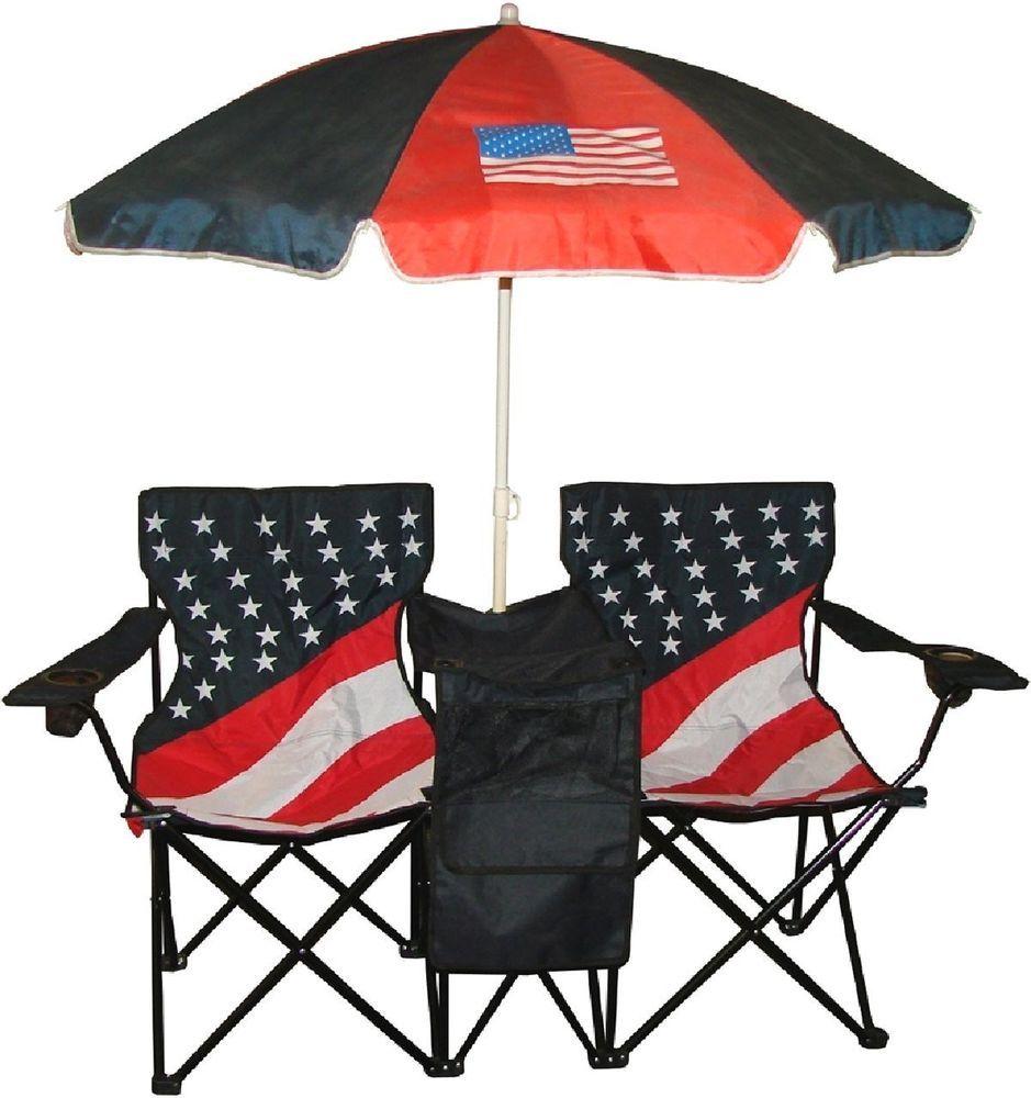 Chair folding twin beach picnic outdoor umbrella w bag