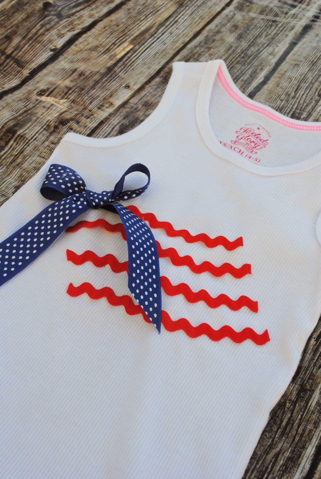 No Sew Waving American Flag Shirt (but you could sew on the embellishments, too!)