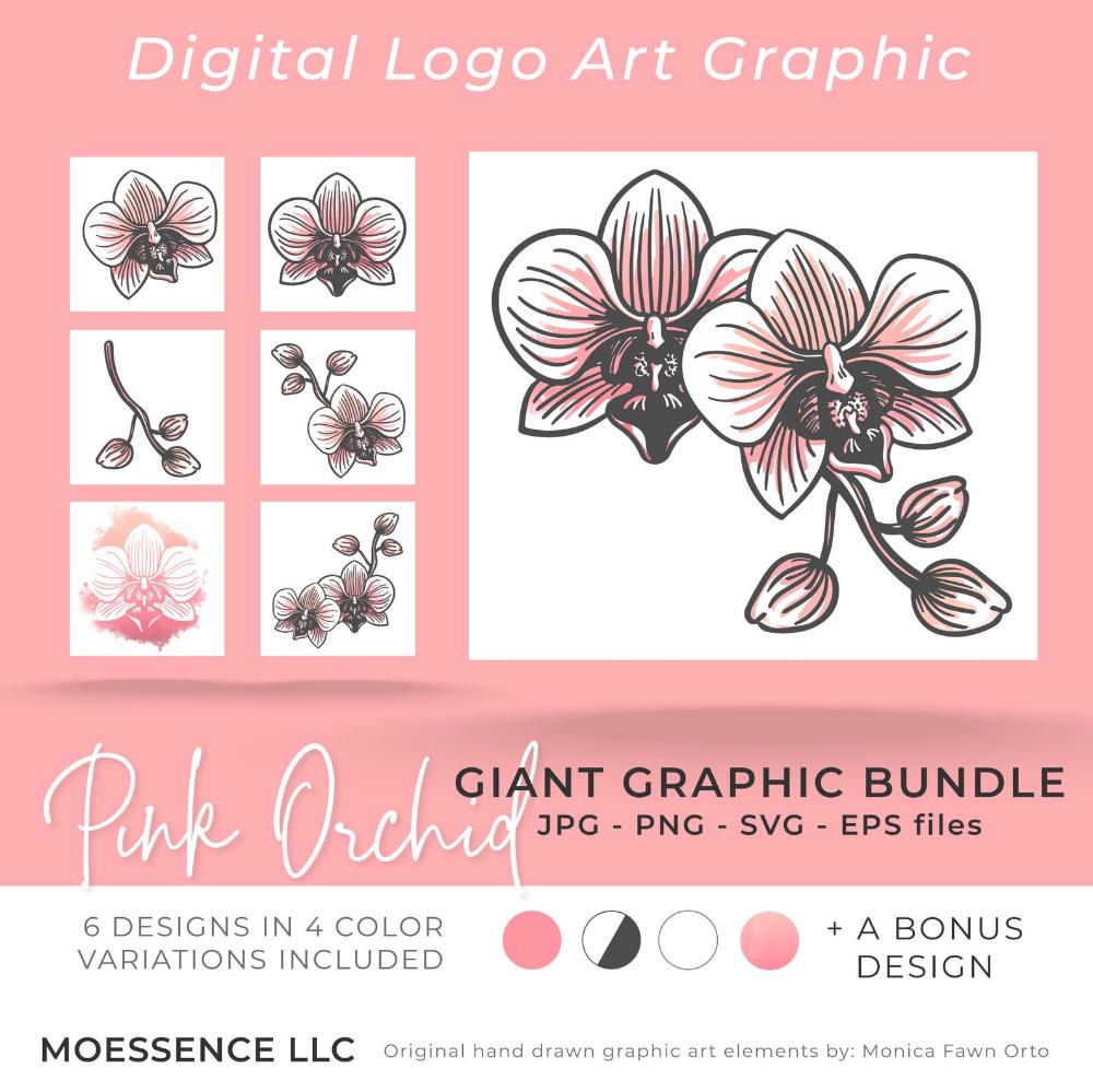 Pink Orchid Logo Mark Graphic Download Branding Kit Logo