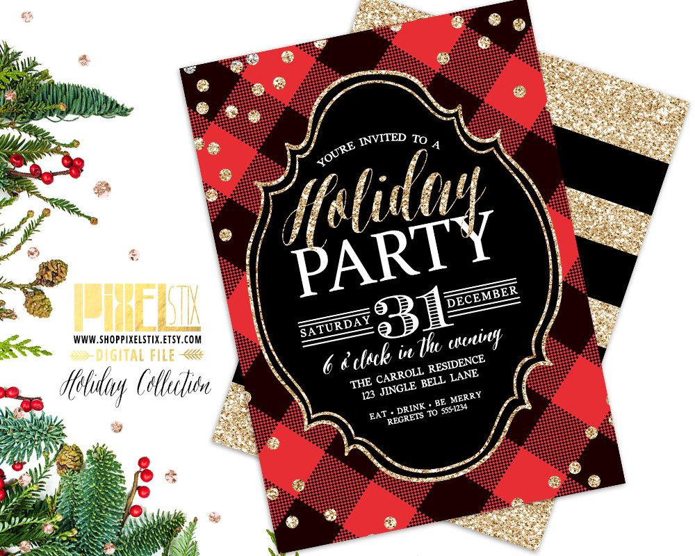 Holiday Party Invitation, Buffalo Plaid, Gold Glitter Confetti ...