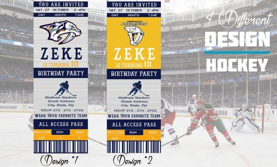 Nashville Predators Birthday Invitation Hockey Ticket Logan Hockey