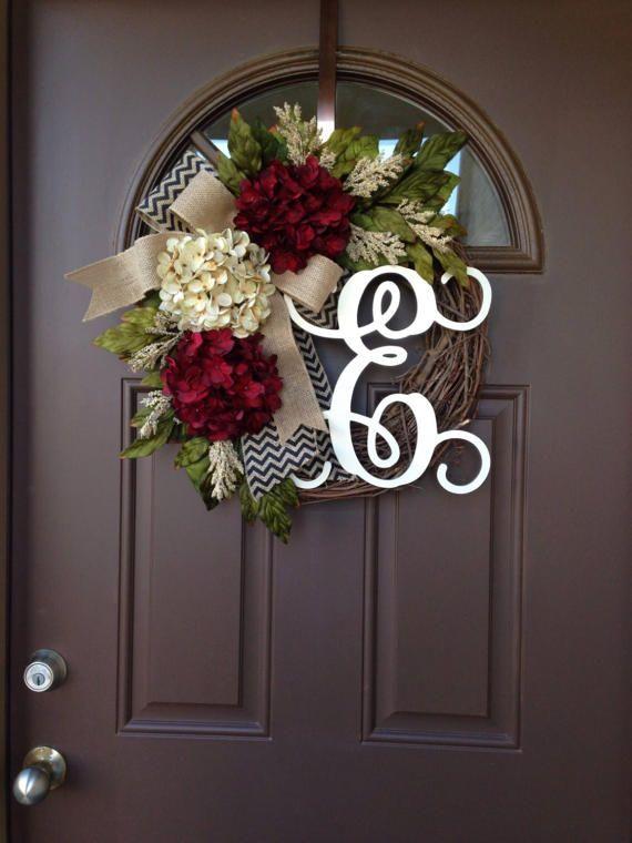 Lovely Burgundy And Cream Hydrangea Wreath   Front Door Wreath   Year Round Wreath    Everyday Wreath   All Season Wreath   Spring Wreath   Gift