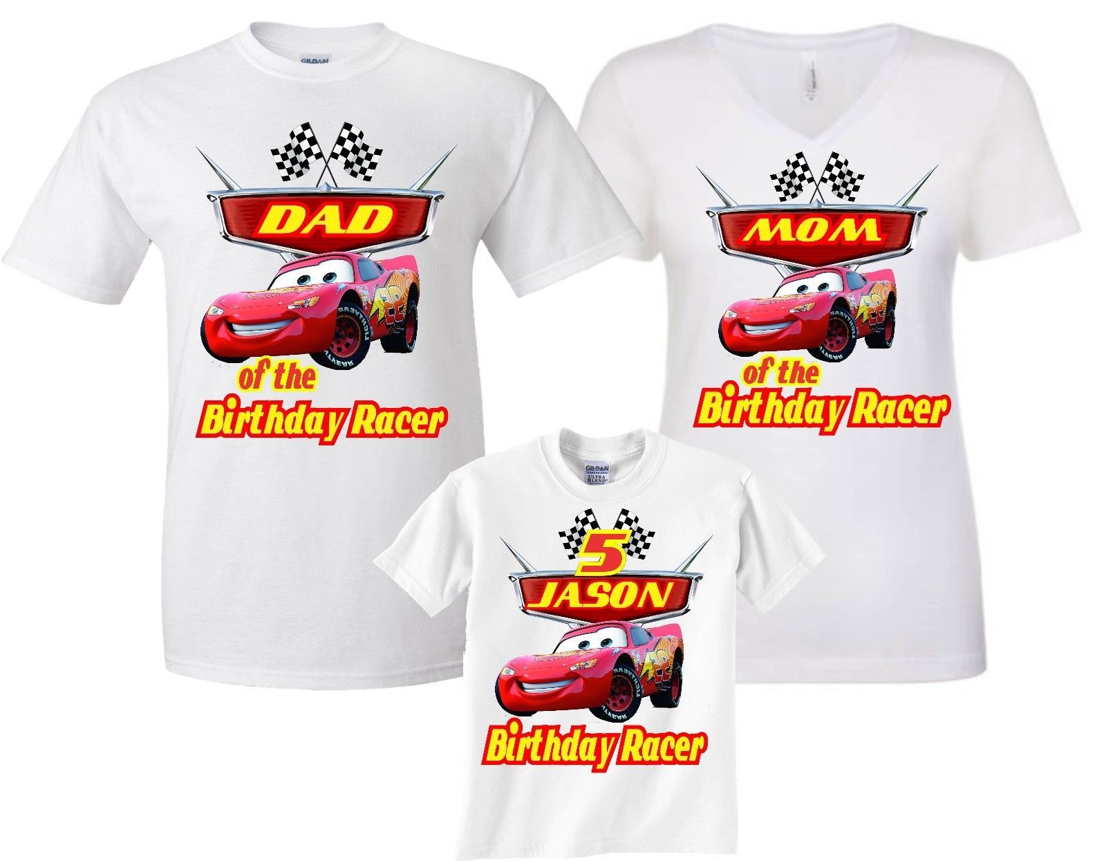 5b094fd3a Cars Lightning McQueen Birthday Boy Family Funny Cute Customized matching T- Shirts all sizes all family member v-neck , crew-neck shirts by GoCustom on  Etsy