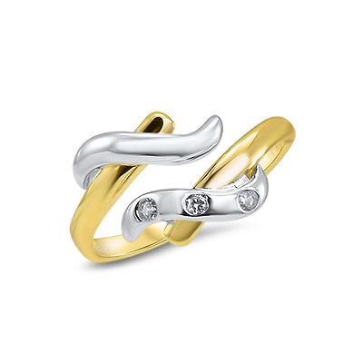 Toe Rings 140010: Toe Ring 14Kt Solid White Gold Yellow Gold Adjustable 3 Cz Gemstone BUY IT NOW ONLY: $98.0