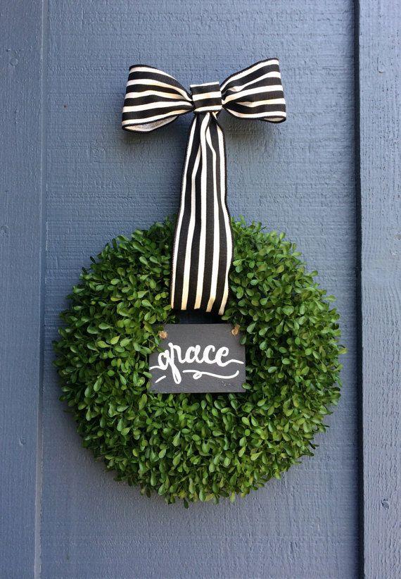 Boxwood Home Wreath / Green Wreath / Spring Wreath / Home Sign / Boxwood Wreath / Christian Sign Wreath / Small Wreath / Christian Wreath