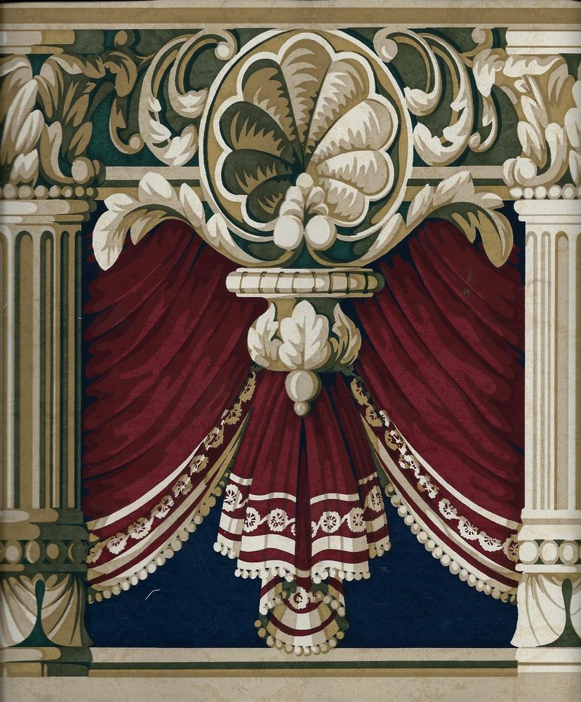 Victorian Mural Wallpaper: Victorian Blue And Green On Burgundy Drapery Swag W