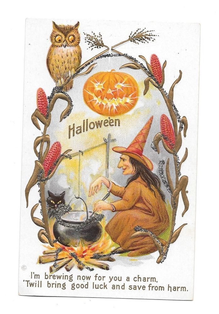vtg postcard halloween witch stirring cauldron on the fire owl on corn stalks - Halloween Corn Stalks