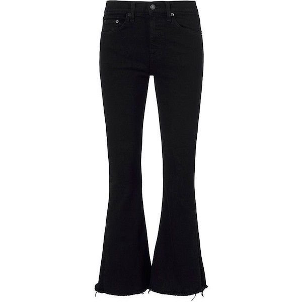 Rag & Bone/JEAN Crop Flare Black Coal ($195) ❤ liked on Polyvore featuring pants, capris, zipper pants, cotton pants, high-waisted trousers, flared cropped pants and high waisted pants
