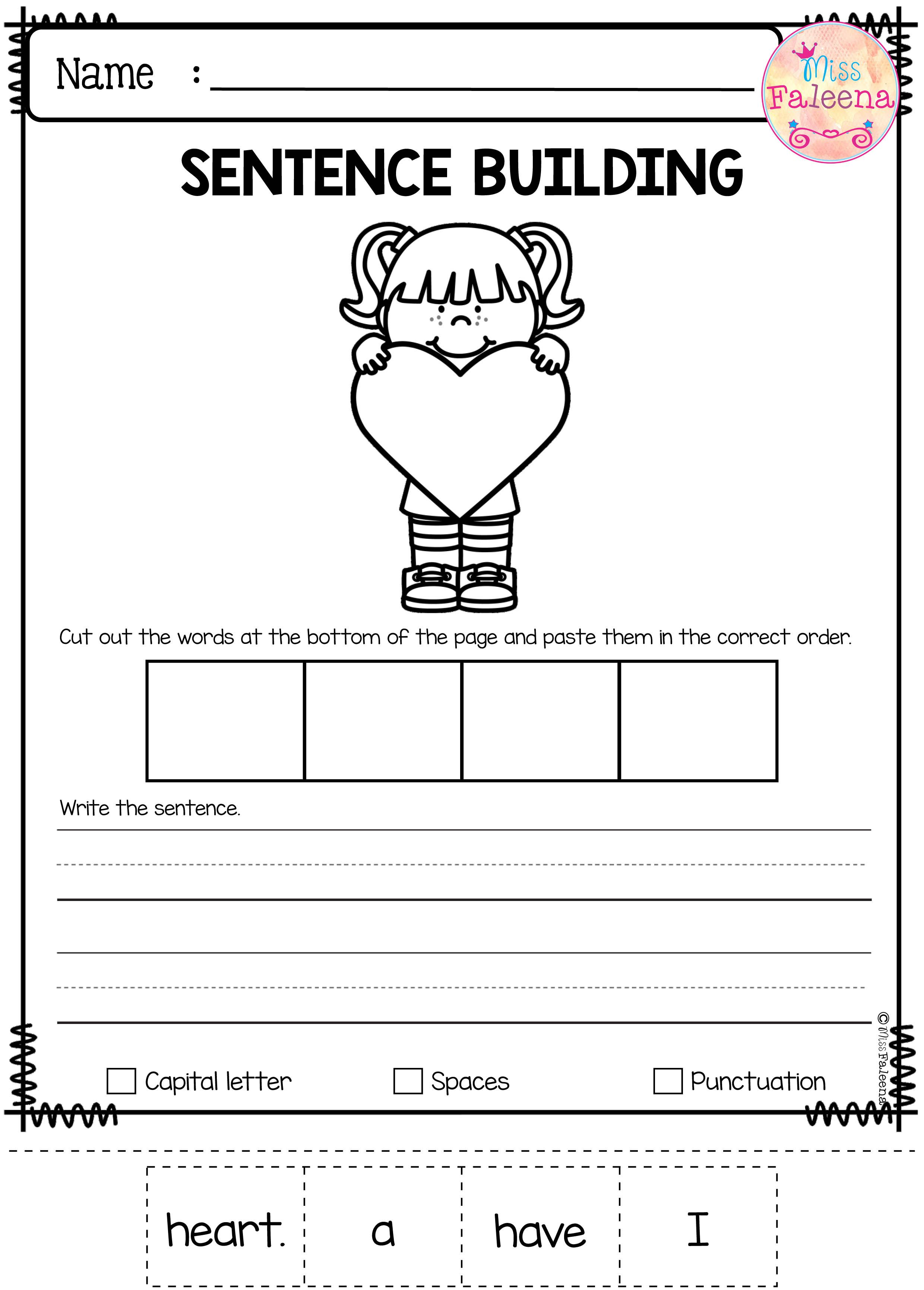 Worksheets Sentence Comprehension Worksheets february sentence building thinking skills writing and building