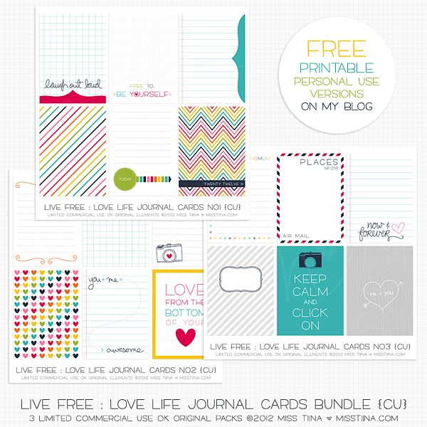 Free printable download journal cards (sized for project 365/life kits or just to print) from Miss Tiina #free #printables