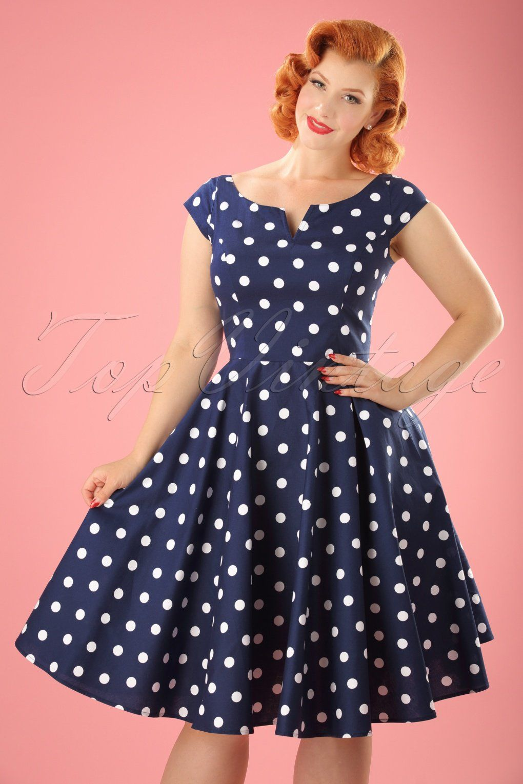50s Nicky Polkadot Swing Dress in Navy and White