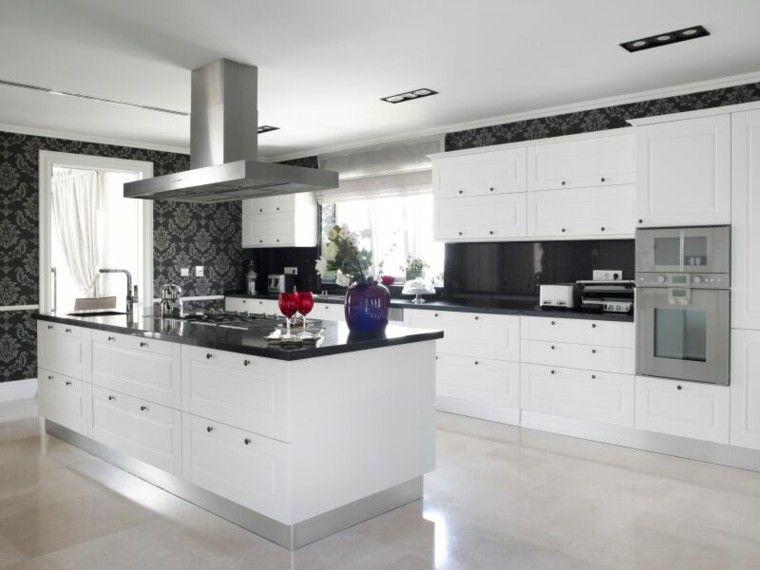 papel de pared negro en la cocina minimalista - Cocina Minimalista