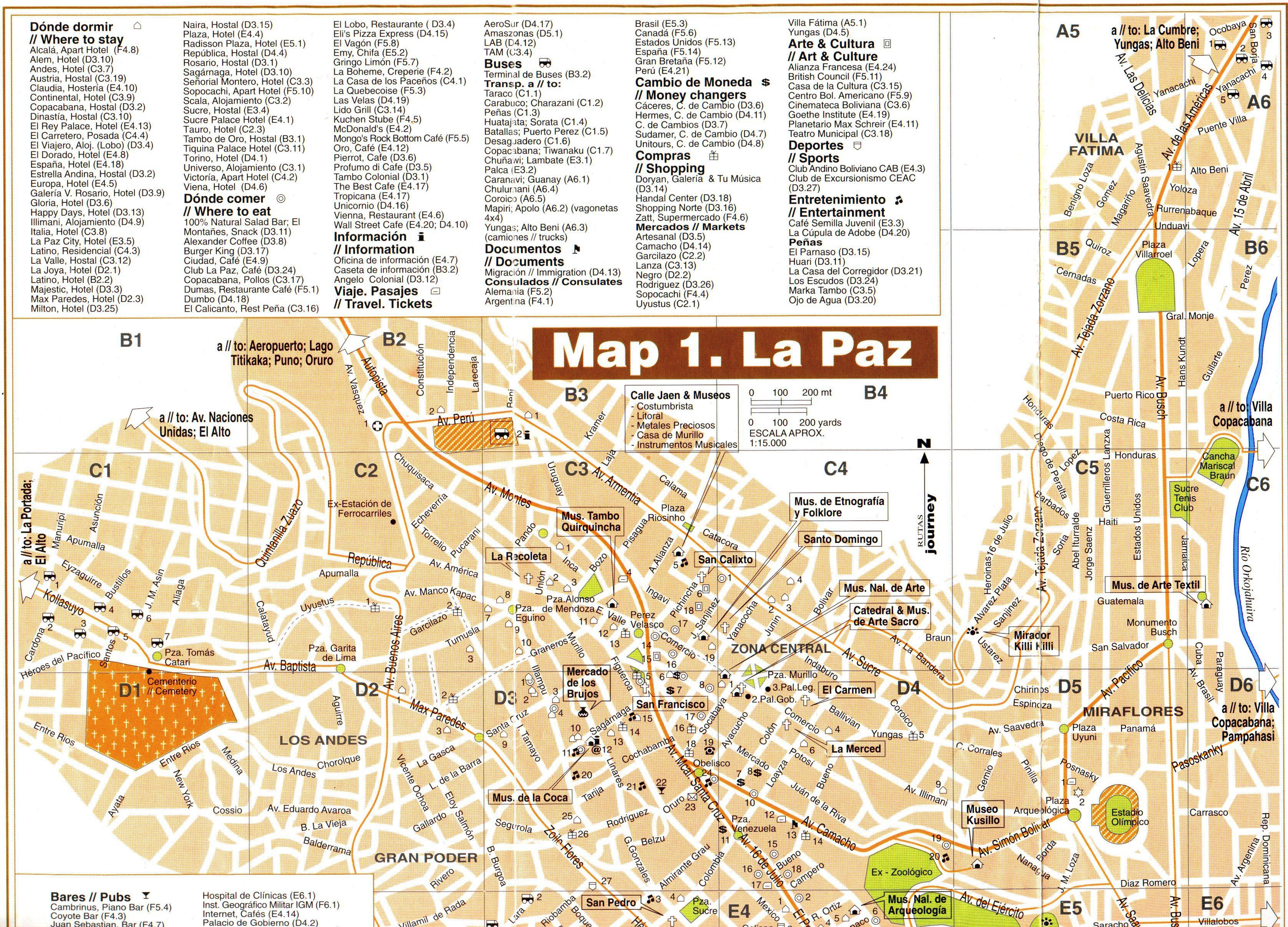 Mapa turistico de La Paz Bolivia  Bolivia  Pinterest  Bolivia