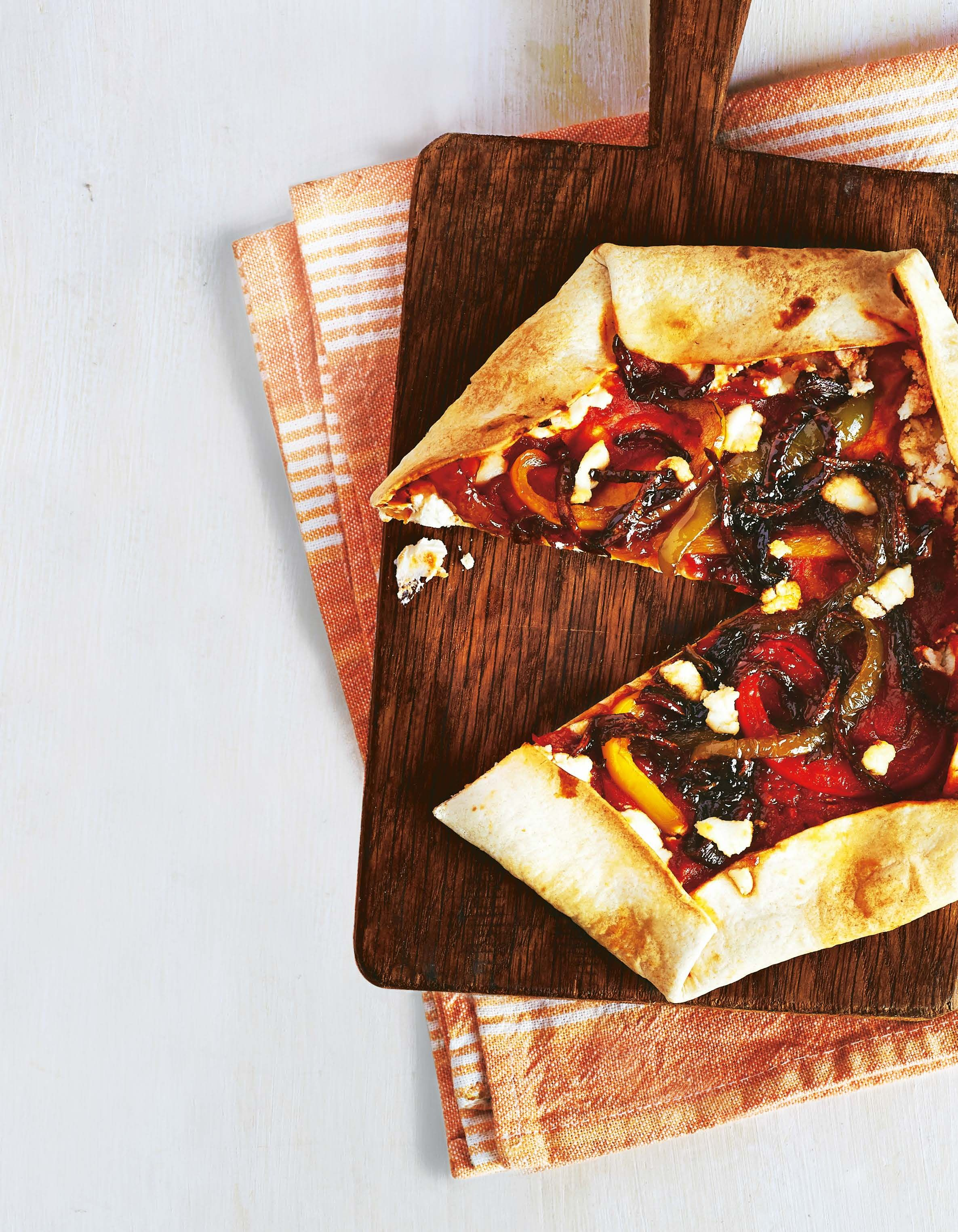 Roast Pepper Red Onion Stuffed Crust Tortilla Pizza