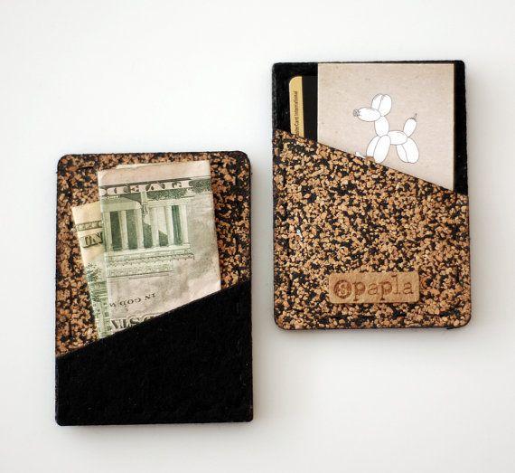 7de7f79c8928 Slim Unisex Cork Wallet, Vegan, handmade, Slim business card holder ...