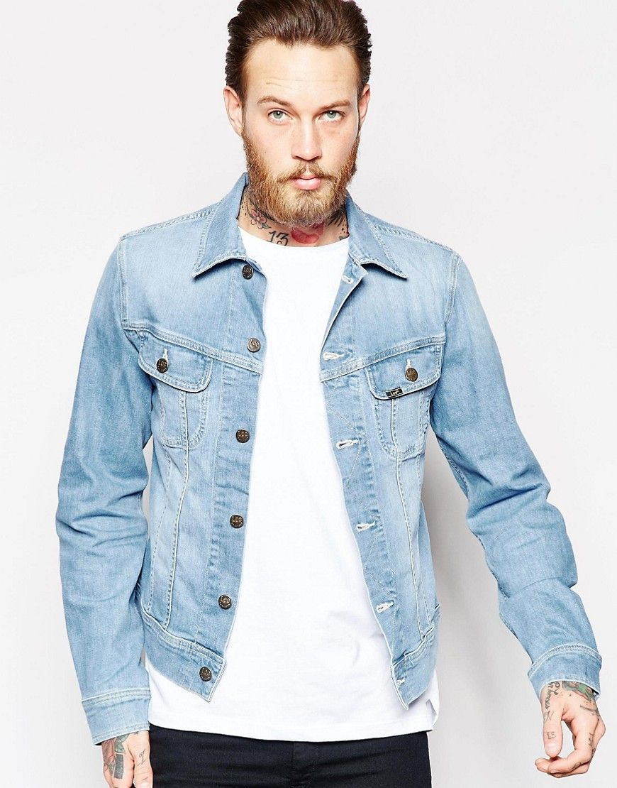4ff286fc8b348 Lee Denim Jacket Slim Fit Rider Light Wash Stretch