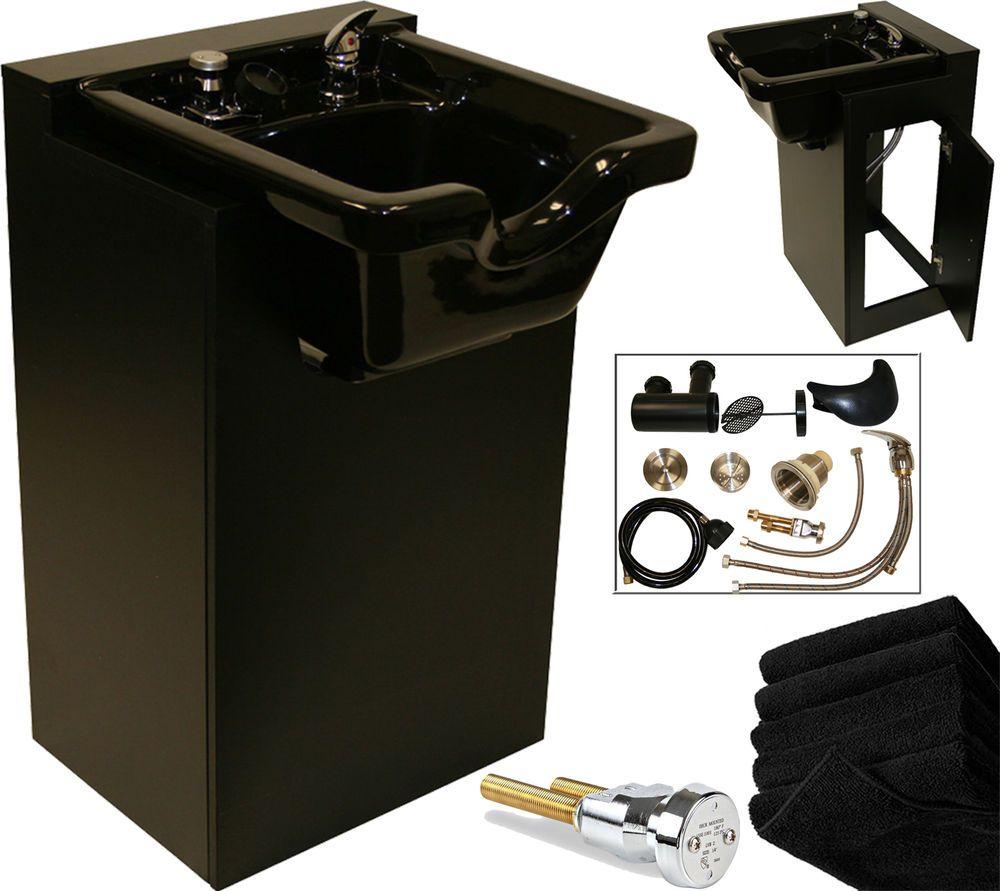 Acrylic Fiber Shampoo Bowl Sink Black Wood Cabinet Backwash Spa