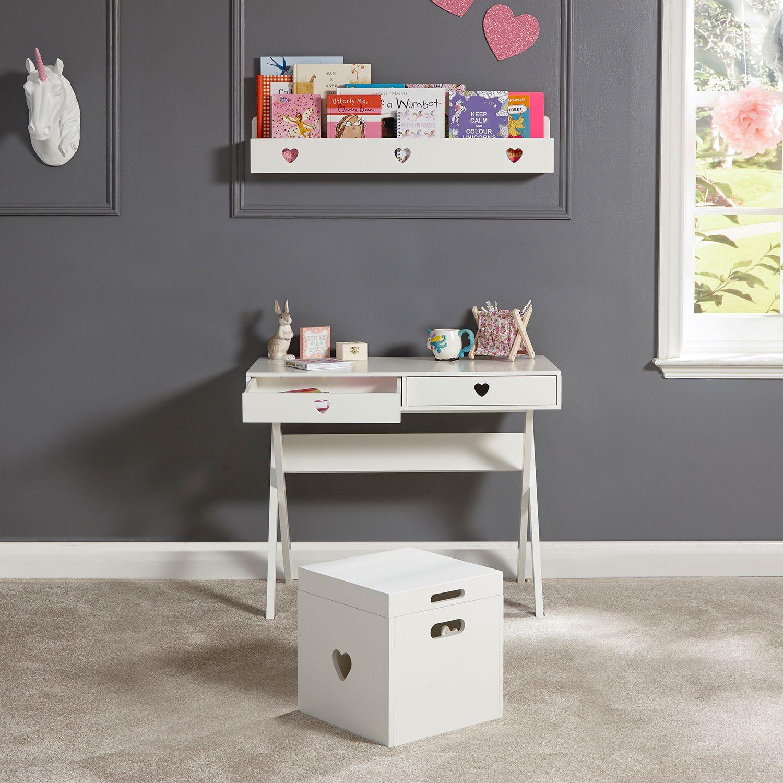 Little Hearts Desk White Girls Desk Childrens Bedroom Furniture Girls White Desk Furniture