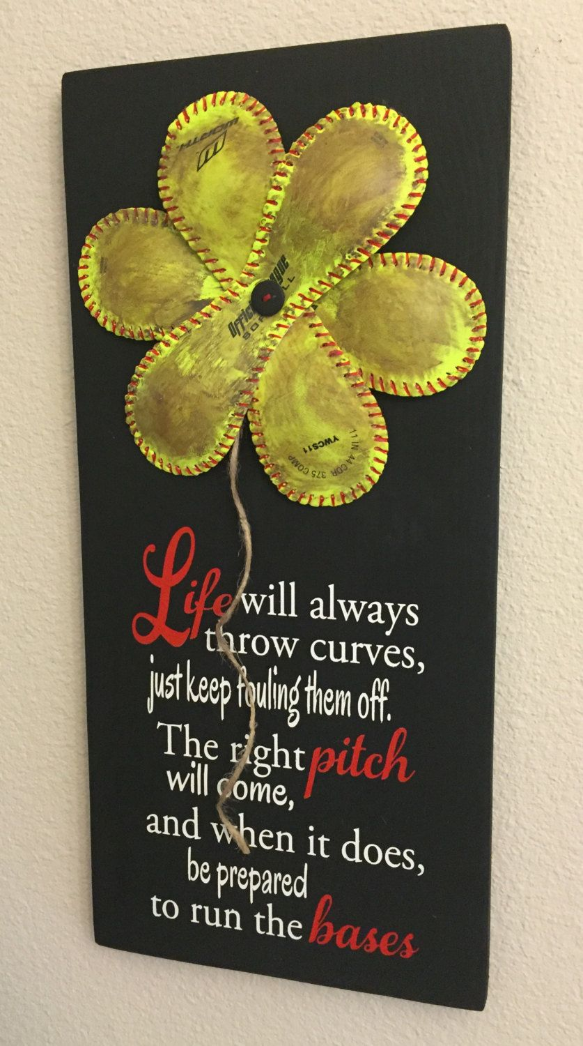 Wall Decor Softball - Life Will Always Throw Curves, Baseball ...