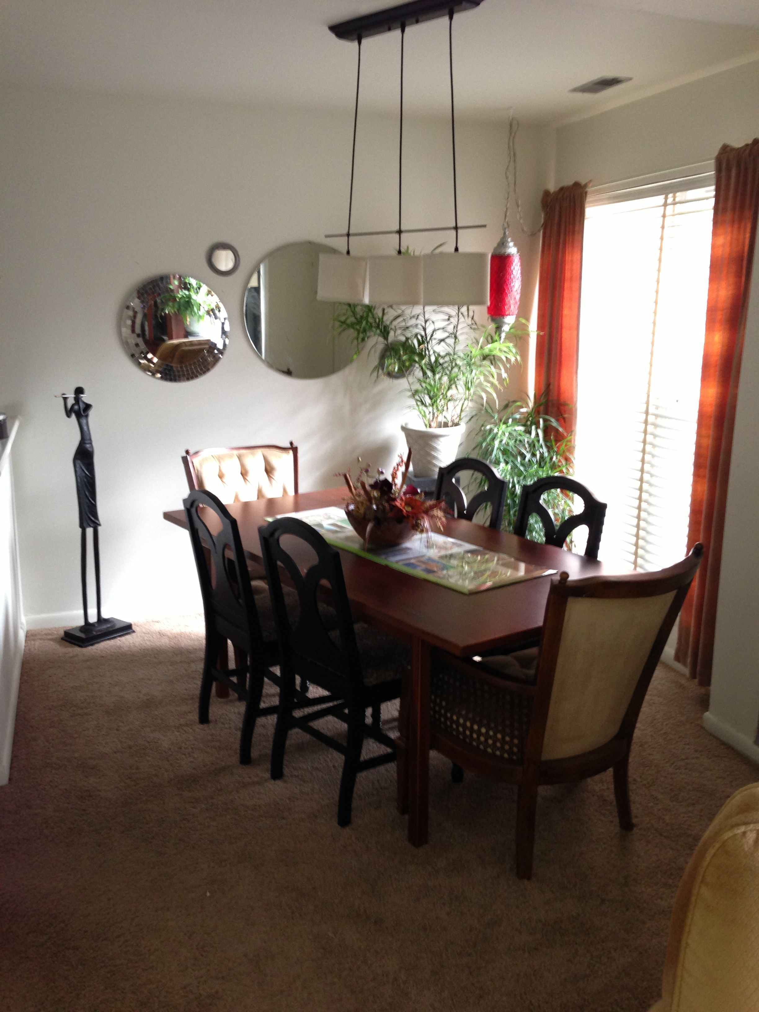 My dining room with the new captain chairs before I paint ...